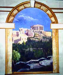Roman temple backdrop painted with Artist's Choice Saturated Paints